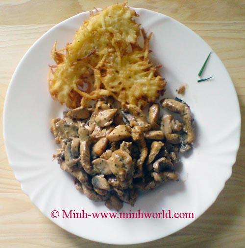 Thịt gà tây với Nấm